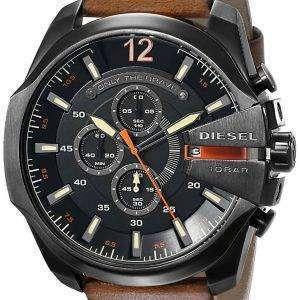 20e5f9d3f02a Diesel Mega Chief Black Dial Brown Leather DZ4343 Mens Watch