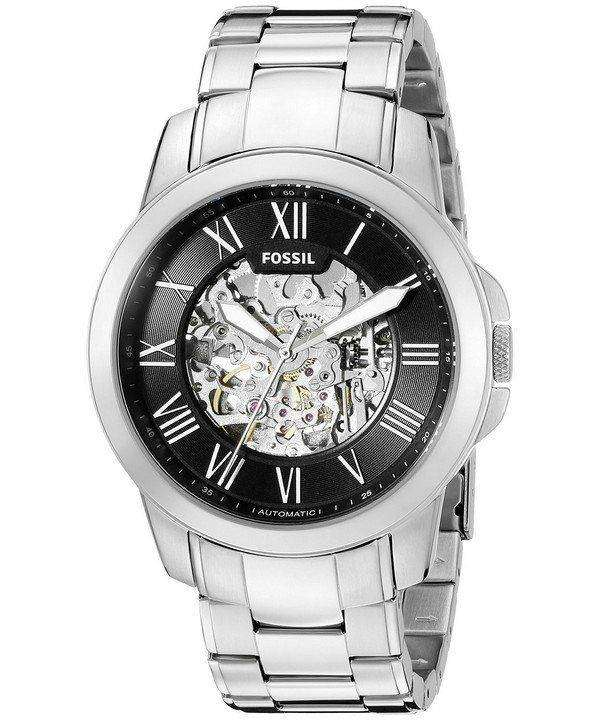 1fbe1f2f7737 Fossil Grant Automatic Black Skeleton Dial ME3103 Mens Watch ...