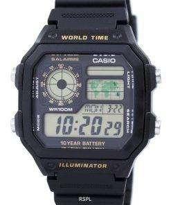 Casio Youth Series Digital World Time AE-1200WH-1BVDF AE-1200WH-1BV Mens Watch
