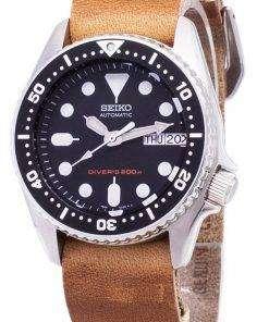 Seiko Automatic SKX013K1-MS10 Diver's 200M Brown Leather Strap Men's Watch