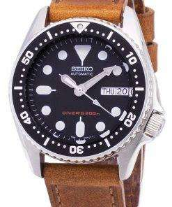 Seiko Automatic SKX013K1-MS4 Diver's 200M Brown Leather Strap Men's Watch
