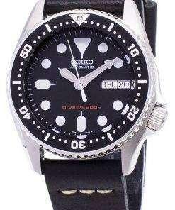 Seiko Automatic SKX013K1-MS8 Diver's 200M Black Leather Strap Men's Watch