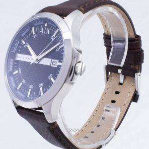 abe64500c0cc ... Armani Exchange Quartz Navy Dial Brown Leather Strap AX2133 Men s Watch
