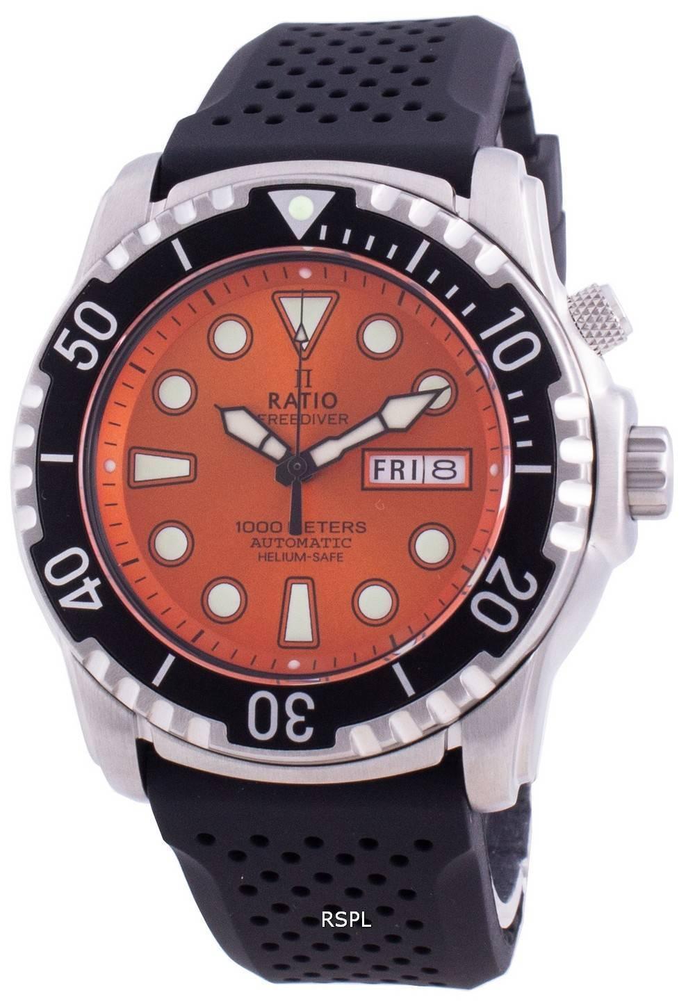 Ratio Free Diver Helium-Safe 1000M Sapphire Automatic 1068HA90-34VA-ORG Men's Watch