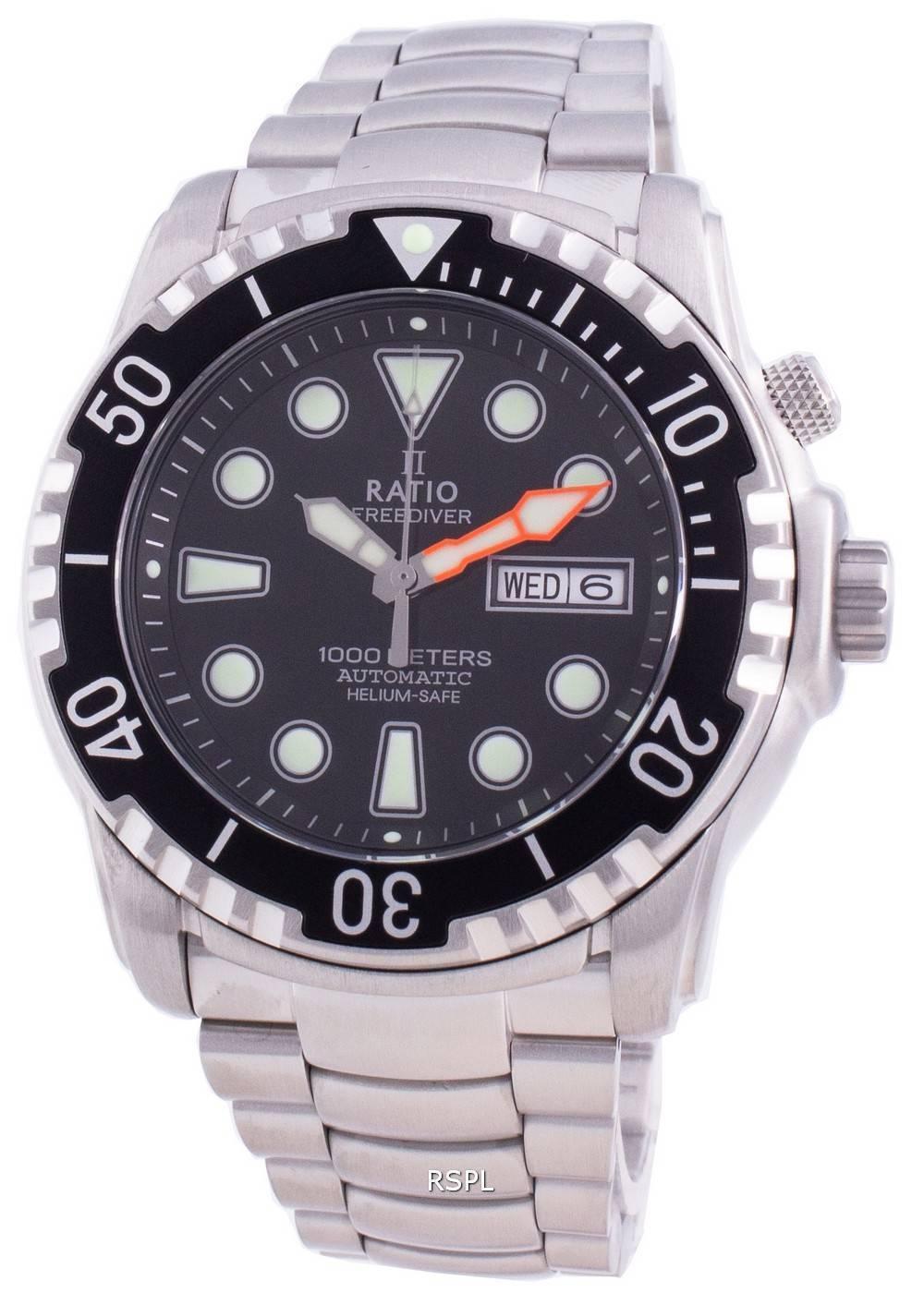 Ratio Free Diver Helium-Safe 1000M Sapphire Automatic 1068HA96-34VA-BLK Men's Watch