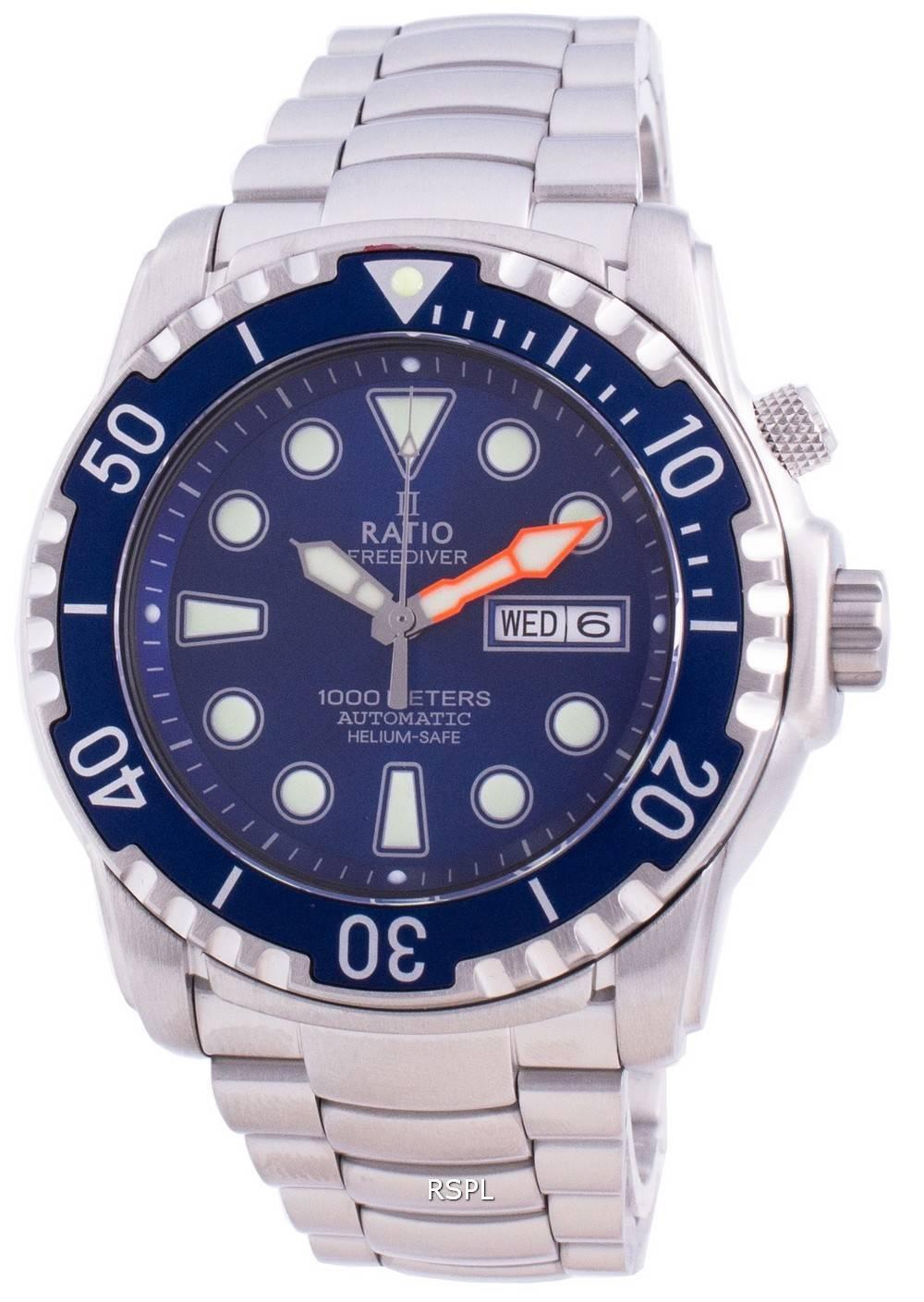 Ratio Free Diver Helium-Safe 1000M Sapphire Automatic 1068HA96-34VA-BLU Men's Watch