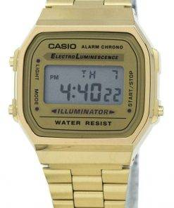 Casio Digital Alarm Chrono Stainless Steel A168WG-9WDF A168WG-9W Unisex Watch