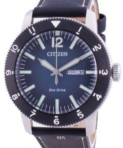 Citizen Blue Dial Calf Leather Eco-Drive AW0077-19L 100M Men's Watch