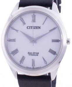 Citizen White Dial Leather Strap Eco-Drive BJ6520-15A Men's Watch