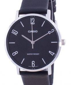 Casio Black Dial Leather Strap Quartz MTP-VT01L-1B2 MTPVT01L-1B2 Men's Watch