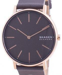 Skagen Signatur Grey Dial Charcoal Leather Strap Quartz SKW2794 Womens Watch