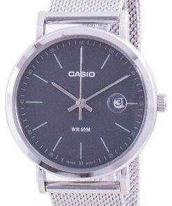 Casio Analog Black Dial Stainless Steel LTP-E175M-1E LTPE175M-1 Womens Watch