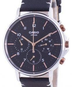 Casio Multi Hands Black Dial Leather Strap Quartz MTP-E321L-1A MTPE321L-1 Mens Watch