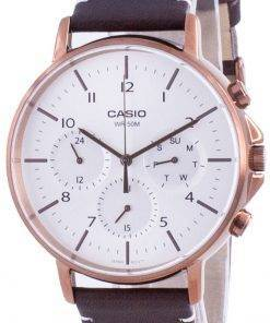 Casio Multi Hands Silver Dial Leather Strap Quartz MTP-E321RL-5A MTPE321RL-5 Mens Watch