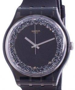 Swatch Darksparkles Black Dial Silicone Strap Quartz SUOB156 Womens Watch