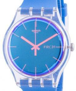 Swatch Polablue Blue Dial Silicone Strap Quartz SUOK711 Mens Watch