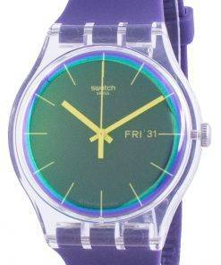 Swatch Polapurple Purple Dial Silicone Strap Quartz SUOK712 Mens Watch