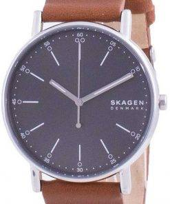 Skagen Signatur Grey Dial Leather Strap Quartz SKW6578 Mens Watch
