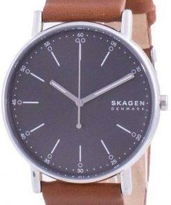 Skagen Signatur Grey Dial Leather Strap Quartz SKW6578 Mens Watch