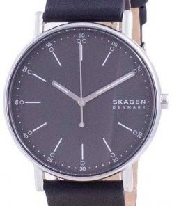 Skagen Signatur Grey Dial Leather Strap Quartz SKW6654 Mens Watch