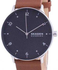 Skagen Riis Black Dial Leather Strap Quartz SKW6663 Mens Watch