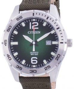 Citizen Green Dial Nylon Strap Quartz BI1041-06X 100M Mens Watch