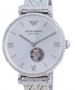 Emporio Armani Gianni T-Bar Open Heart Diamond Accents Automatic AR60022 Womens Watch