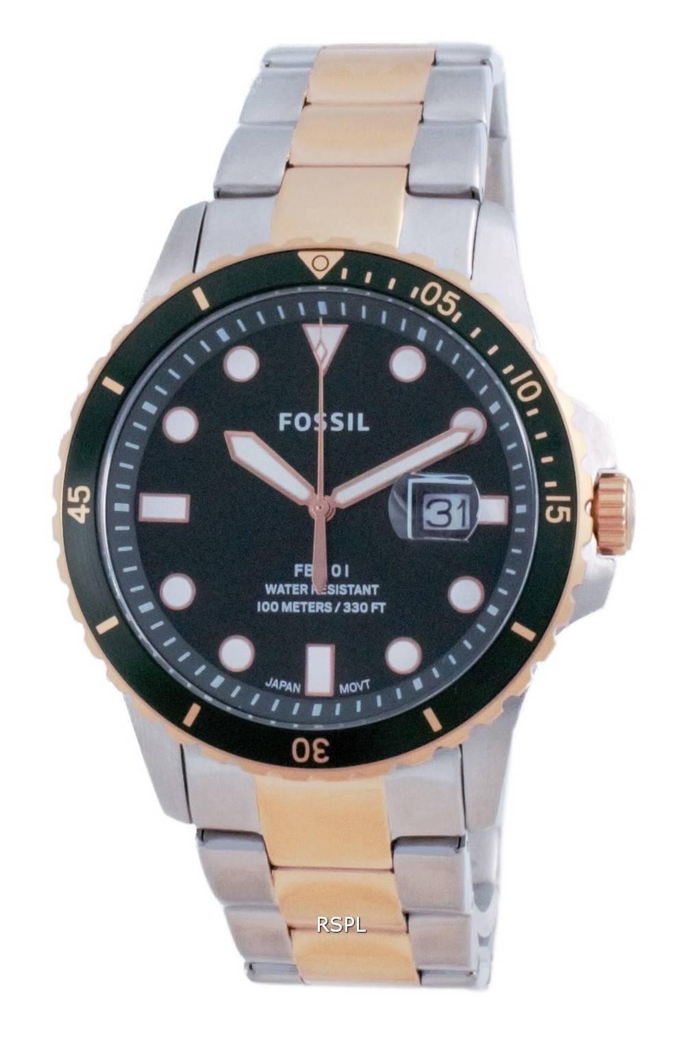 Fossil FB-01 Green Dial Stainless Steel Quartz FS5743 100M Mens Watch