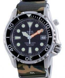 Ratio Free Diver Helium Safe Nylon Automatic Diver's 1066KE20-33VA-BLK-var-NATO5 1000M Men's Watch
