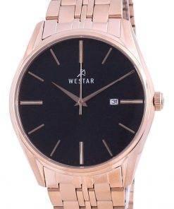 Westar Black Dial Rose Gold Tone Stainless Steel Quartz 50210 PPN 603 Men's Watch