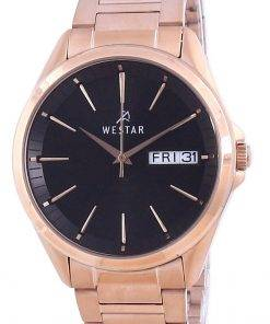 Westar Black Dial Rose Gold Tone Stainless Steel Quartz 50212 PPN 603 Men's Watch
