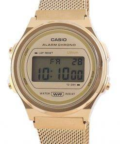 Casio Youth Vintage Gold Tone Stainless Steel Digital A171WEMG-9A Unisex Watch