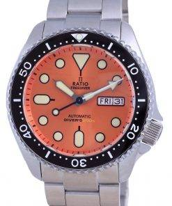 Ratio FreeDiver Orange Dial Sapphire Stainless Steel Automatic RTA114 200M Mens Watch