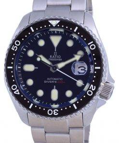 Ratio FreeDiver Black Dial Sapphire Stainless Steel Automatic RTB200 200M Mens Watch
