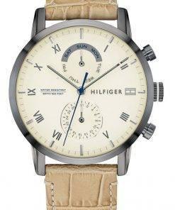 Tommy Hilfiger Kane Beige Dial Leather Strap Quartz 1710399 Mens Watch