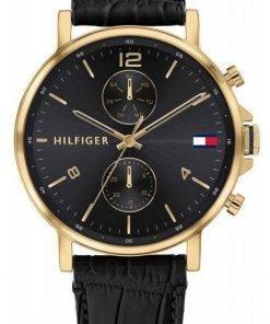 Tommy Hilfiger Daniel Black Dial Leather Strap Quartz 1710417 Mens Watch