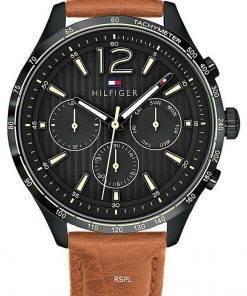 Tommy Hilfiger Gavin Black Dial Leather Strap Quartz 1791470 Mens Watch