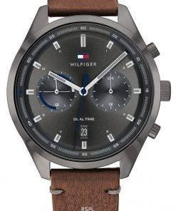 Tommy Hilfiger Bennett Grey Dial Leather Strap Quartz 1791730 Mens Watch