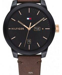 Tommy Hilfiger Denim Black Dial Leather Strap Quartz 1791748 Mens Watch
