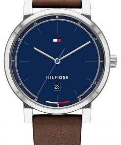 Tommy Hilfiger Thompson Blue Dial Leather Strap Quartz 1791780 50M Mens Watch